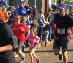 Michael Anderson '92 MBA'03 running with daughter in Colony Grill 5k on November 8, 2015.